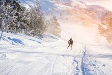 French Girl Skiing In The Ski ...