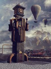 FototapetaWieża zegarowa retro, pociąg i balony na tle górskiego krajobrazu