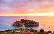 view of Sveti Stefan, small islet and resort in Montenegro. Balkans, Adriatic sea, Europe.