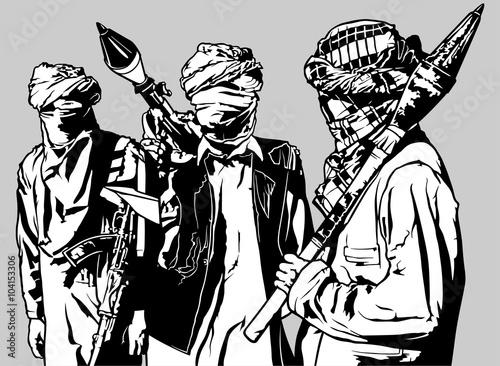 Fotografía  Terrorists - Armed Group with Rocket Launcher - Black Illustration, Vector