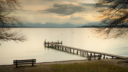 Obraz na Plexi wooden jetty Starnberg lake