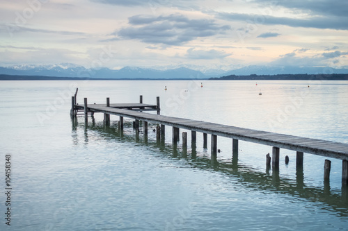 wooden jetty Starnberg lake - 104158348