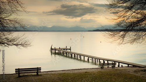 wooden jetty Starnberg lake - 104158393