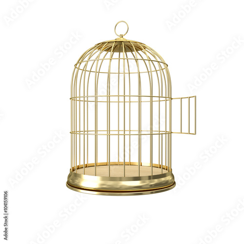Photo  3d golden birdcage
