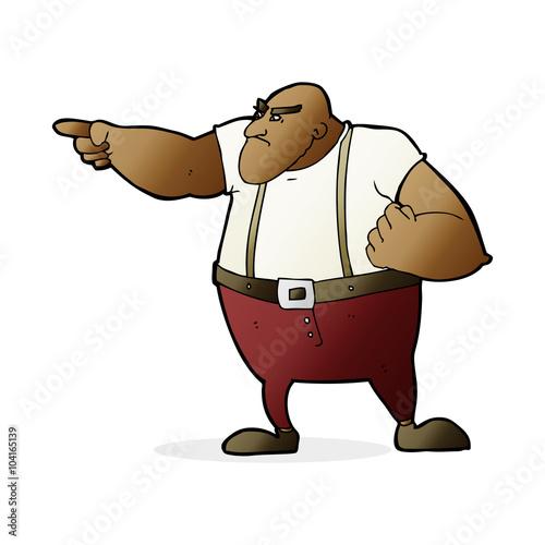 Fototapeta cartoon angry tough guy pointing