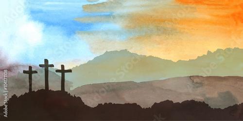 Foto Ostern-Szene mit Kreuz
