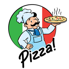 Obraz na Szkle Do pizzerii Emblem of funny cook or baker with pizza