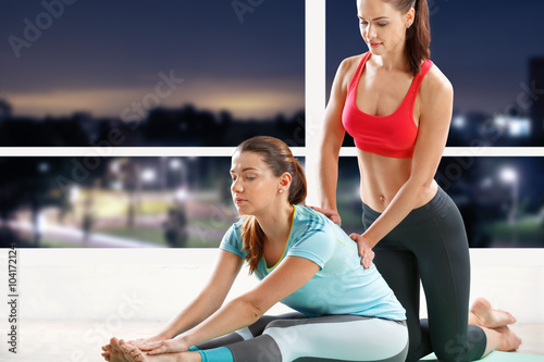 Woman workout with trainer - 104172124