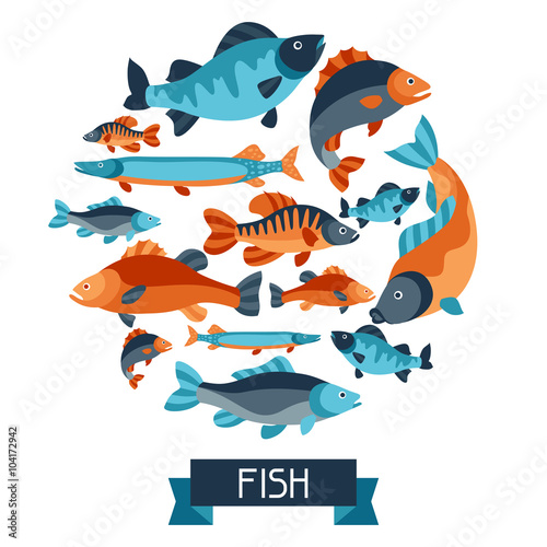 background with various fish image for advertising booklets