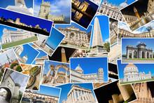 A Collage Of My Best Travel Photos Of Famous Landmarks From European Cities, Included Cities: Roma, Tallin, Ephesus, Istambul, Pisa, Avila, Madrid, Florence, Athens, Venice,Leon, Granada,Lisbon, Etc.
