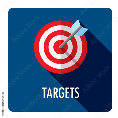 TARGETS Flat Style Web Button with TARGET Icon