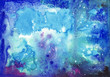 Original watercolor painting of abstract blue sparkling cosmic background. High resolution image.