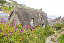 Cornish Hillside Fishing Village With Stone Thatched Roof Traditional Cottage With Flower Garden On A Summer Foggy Day