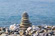 pyramid of stones on the beach