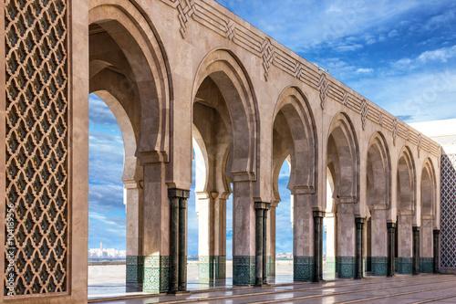 Foto op Plexiglas Marokko Casablanca, Morocco. Mosque Hassan II arcade gallery