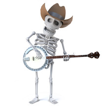 3d Cowboy Skeleton Plays A Banjo Ukulele