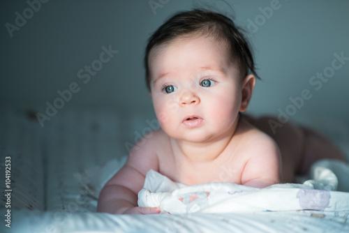 cute baby with dark hair Fototapeta
