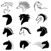 Horse Head Profile Icon Set