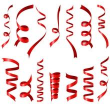 Shiny Red Ribbons Set On White Background