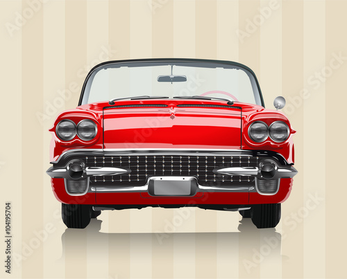 Very realistic vector illustration of a vintage car - front view in retro colour Canvas Print