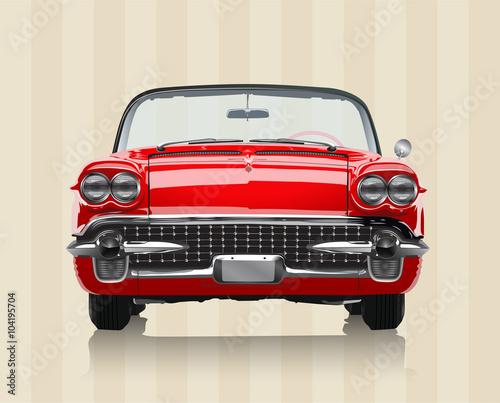 Bardzo realistyczna wektorowa ilustracja rocznika samochód - widok z przodu w retro kolorach