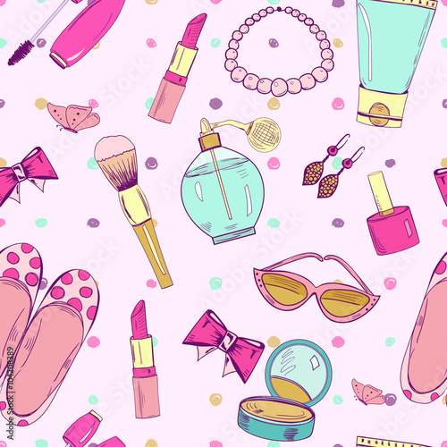 Cotton fabric Cute seamless pattern with feminine accessories.