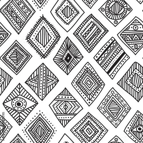 Foto auf AluDibond Boho-Stil Vector seamless pattern with hand-drawn ethnic tribal style rhom