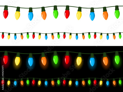 vector illustration of strings of christmas lights strings can be connected end to end seamlessly