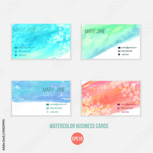 vector set of creative business card templates with sketch flowers