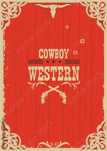 Photo Cowboy western red background with guns