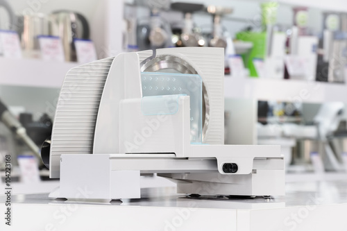 single electric food slicer in retail store