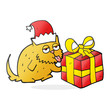 cartoon cat with present