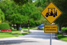 Golf Cart Crossing Sign On A R...