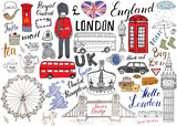 Fototapeta Londyn - London city doodles elements collection. Hand drawn set with, tower bridge, crown, big ben, royal guard, red bus and black cab, UK map and flag, tea pot, lettering, vector illustration isolated