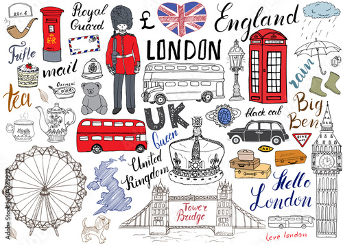 Fototapeta London city doodles elements collection. Hand drawn set with, tower bridge, crown, big ben, royal guard, red bus and black cab, UK map and flag, tea pot, lettering, vector illustration isolated obraz