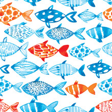 Vector Watercolor Fish On Ligh...