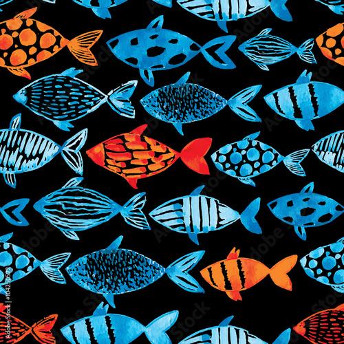 niebieskie-i-pomaranczowe-ryby-na-czarnym-tle