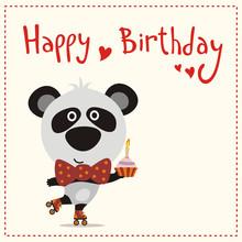 Cute Panda Bear With Birthday ...