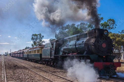 fototapeta na ścianę A restored steam engine Locomotive still journeys in outback South Australia