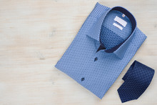 Folded Blue Man Shirt And Tie ...
