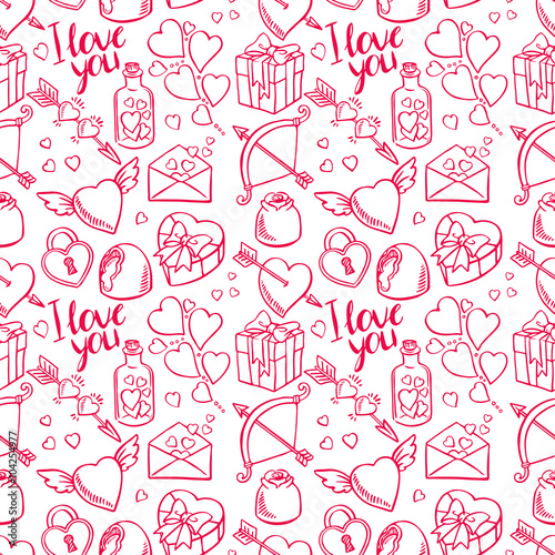 Materiał do szycia Valentine bezszwowe szkic tło