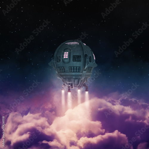Photo  Out of the atmosphere / 3D render of spaceship rising above clouds