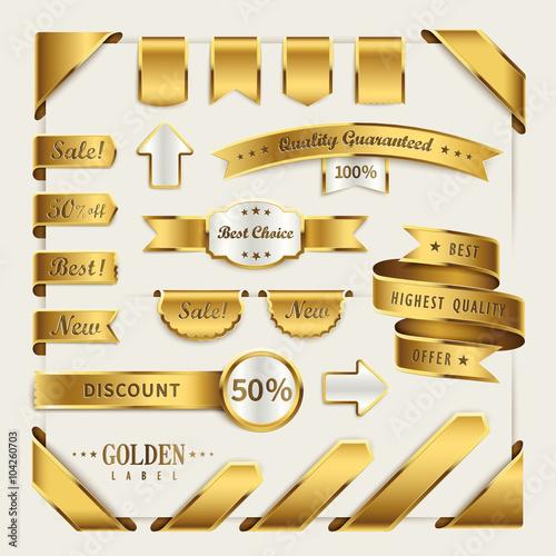 Obraz na plátně golden ribbon label collection