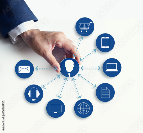 Valokuvatapetti Hands holding icon customer network connection, Omni Channel