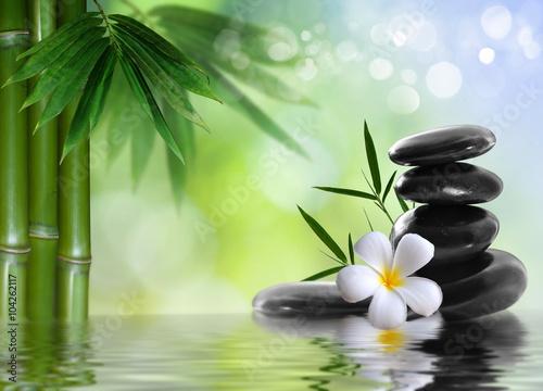 Poster spa stones with frangipani