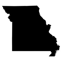 Missouri Black Map On White Ba...
