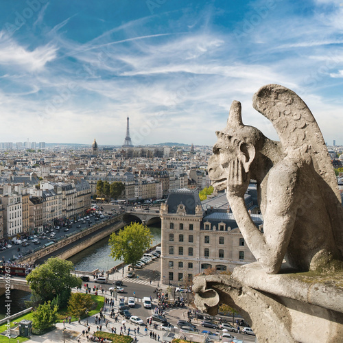 Poster de jardin Paris Gargoyle and city view from the roof of Notre Dame de Paris