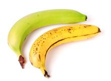 Unripe And Overripe Bananas Isolated On White Background.