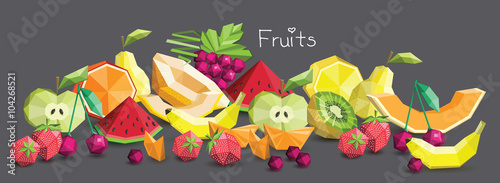 Polygon fruit set, vector illustration. - 104268521