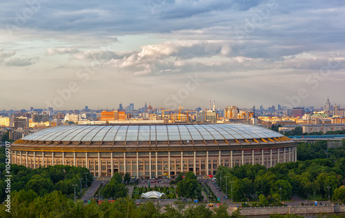 La pose en embrasure Stade de football Stadium Luzniki at Moscow, Russia